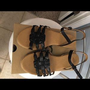 UGG Black Flat Sandals